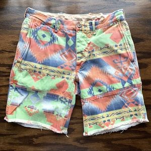 Polo Aztec print frayed denim shorts EUC
